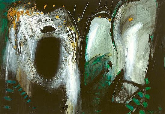 Sunaryo (B. 1943) Barong Mixed media on canvas 160