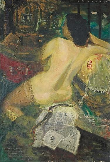 S. Sudjojono (1913-1986) Nude and the Snake Oil on