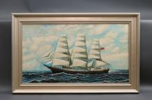 Clipper Ship Under Full Sail Oil on Canvas