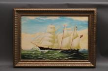 Oil on Canvas of a Brigantine