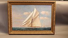Oil on canvas of cup yacht