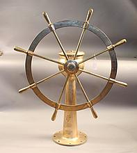 Solid bronze ship's wheel on stand