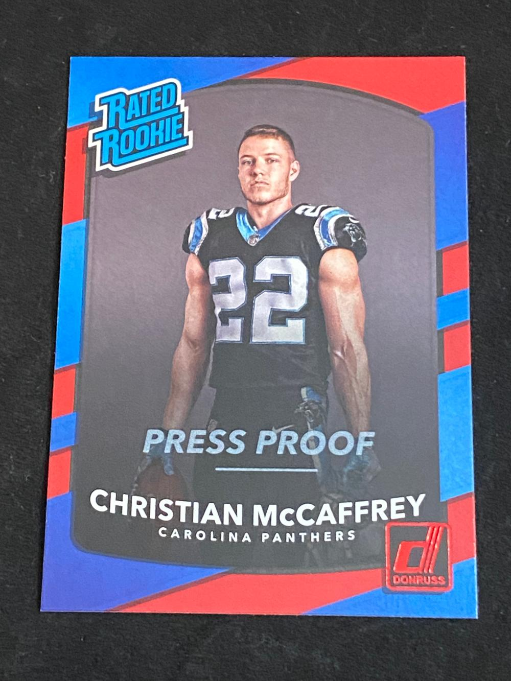 (Mint) 2017 Donruss Red Press Proof Rated Rookie Christian McCaffrey #318 Football Card