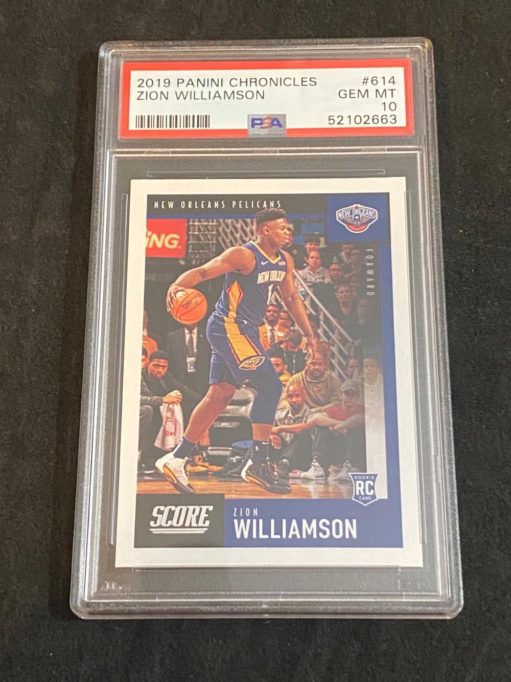 PSA 10 (Gem Mint) 2019-20 Panini Chronicles RC Zion Williamson Rookie #614 Basketball Card