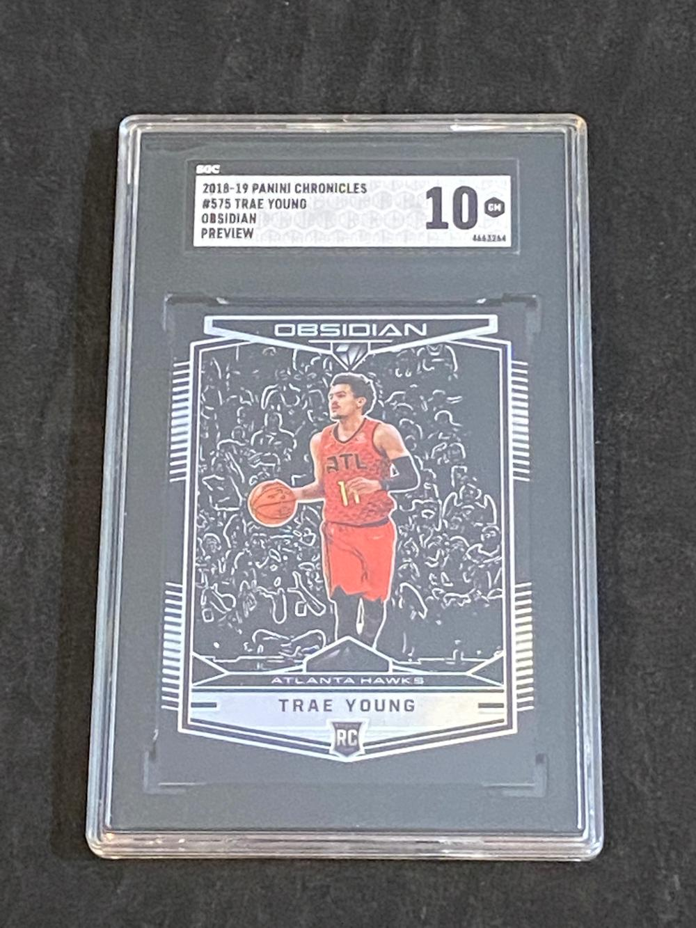 SGC 10 (Gem Mint) 2018-19 Panini Chronicles RC Obsidian Preview Prizm Trae Young Rookie #575 Basketball Card