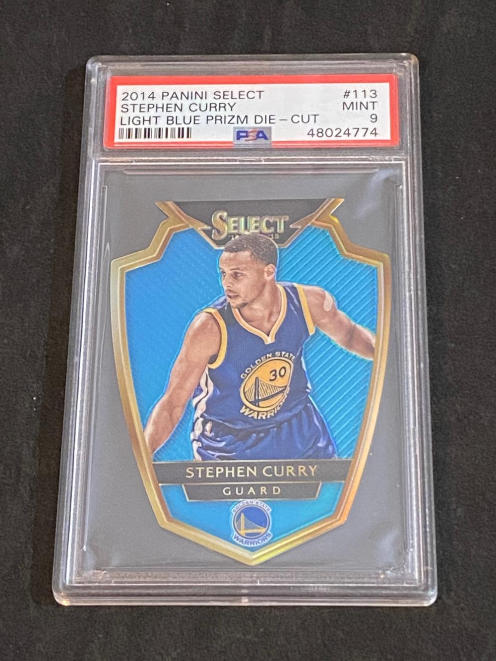 PSA 9 (Mint) #'d /199 2014-15 Select Light Blue Prizm Die Cut Stephen Curry #113 Basketball Card - Numbered /199