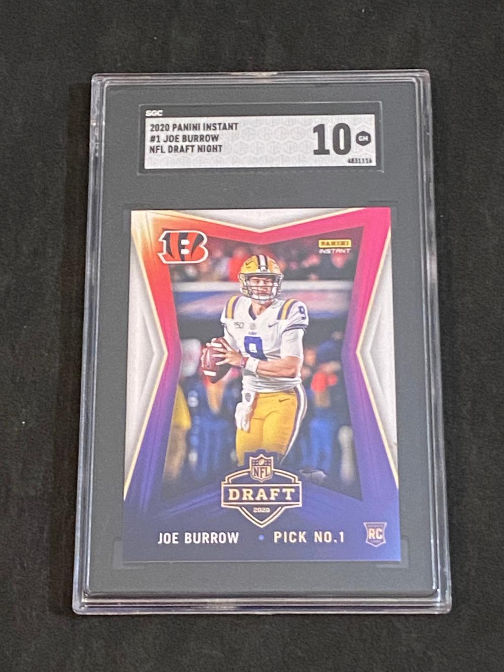 SGC 10 (Gem Mint) Panini Instant RC NFL Draft Night Joe Burrow Rookie #1 Football Card - (1 of 8156)