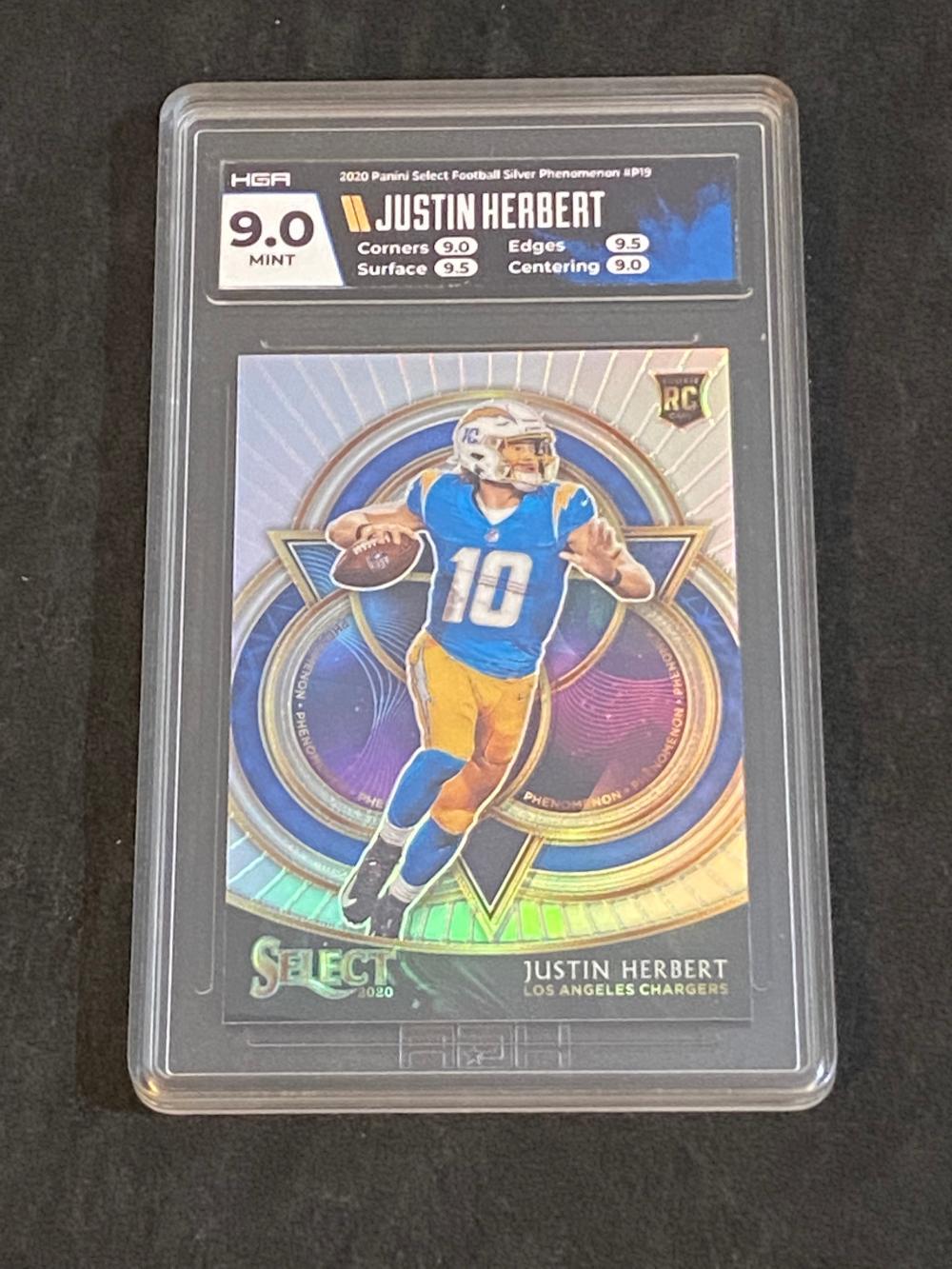 HGA 9 (Mint) 2020 Select RC Silver Prizm Justin Herbert Rookie #P19 Football Card