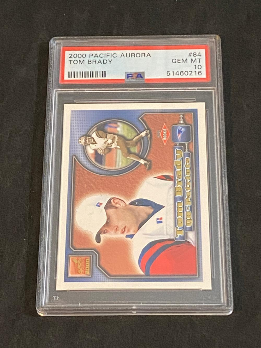 PSA 10 (Gem Mint) 2000 Pacific Aurora Tom Brady Rookie #84 Basketball Card