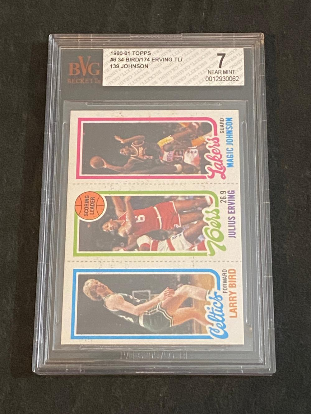 Beckett 7 (NM) 1980-81 Topps Larry Bird (#34) , Magic Johnson (#139) , Julius Erving (#74) Rookie Basketball Card