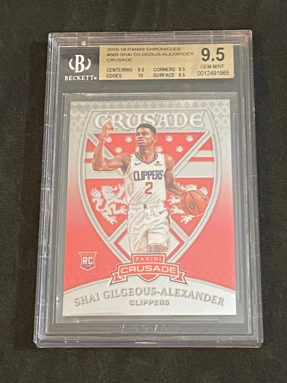 Beckett 9.5 (Gem Mint) 2018-19 Panini Chronicles RC Crusade Shai Gilgeous-Alexander Rookie #565 Basketball Card