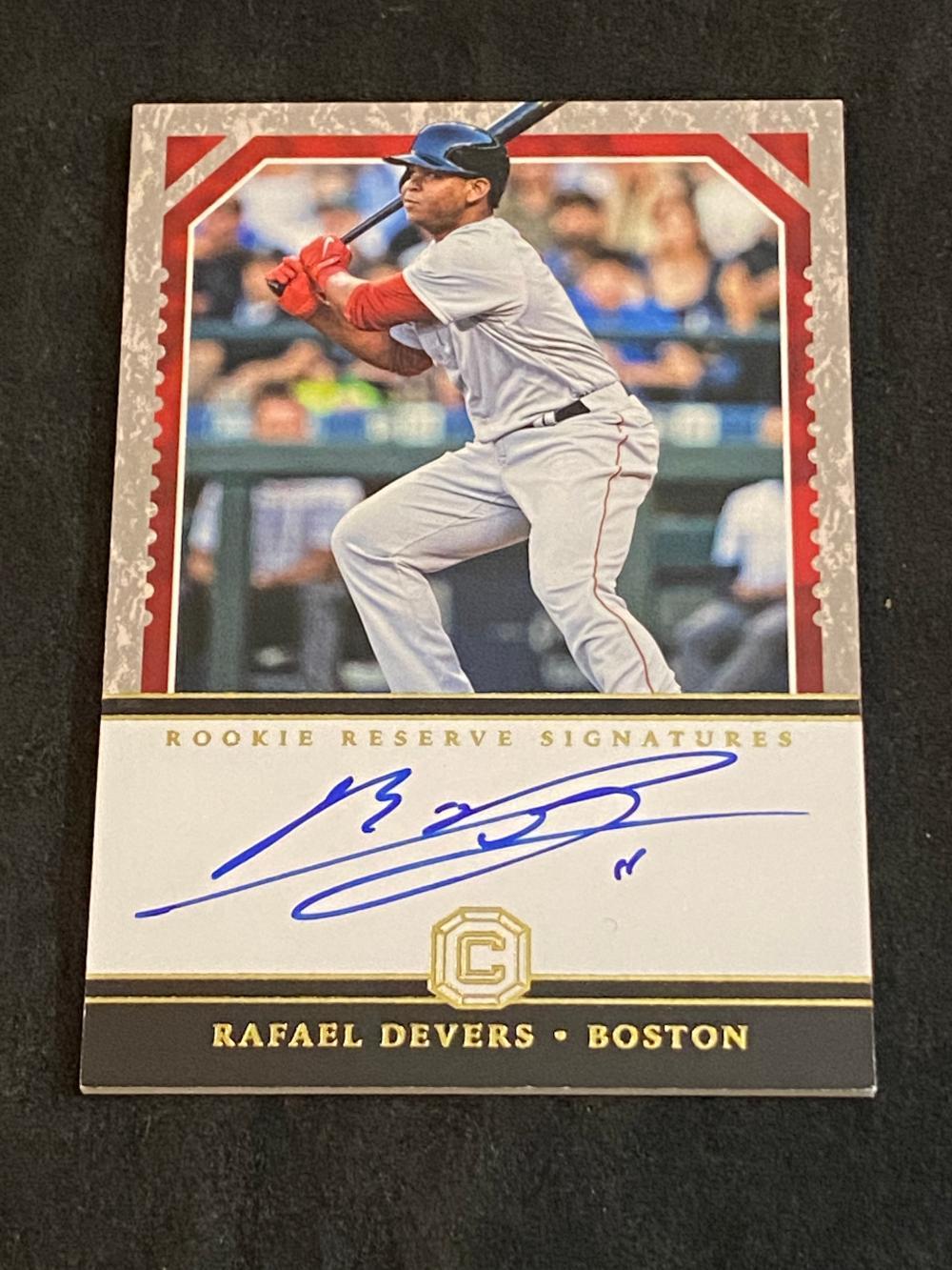 (24/99) 2018 Panini Cornerstones Rookie Reserves Signatures Rafael Devers #RRS-RD Baseball Card - Numbered /99