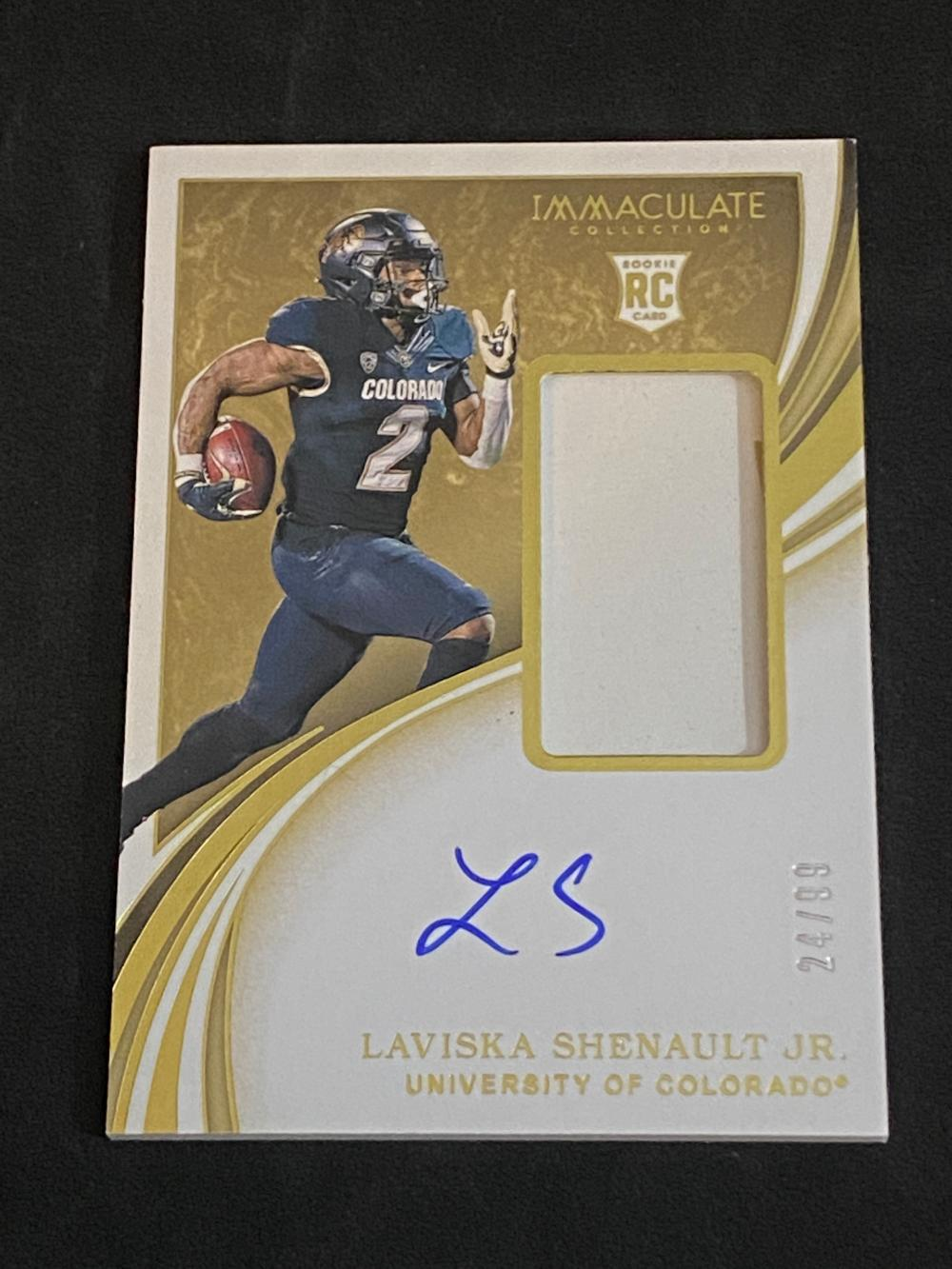 (24/99) 2020 Panini Immaculate Collection Collegiate RC Auto Patch Laviska Shenault Jr. #114 Football Card - Numbered /99