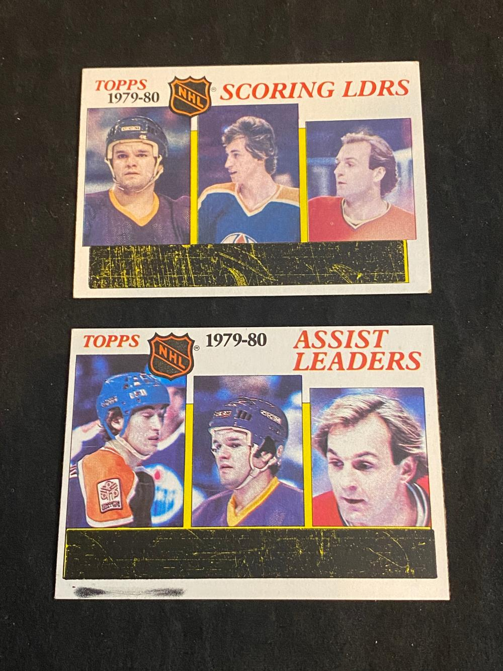 (2) Unscratched EXMT 1980-81 Topps Scoring & Assist Leaders Wayne Gretzky Hockey Cards