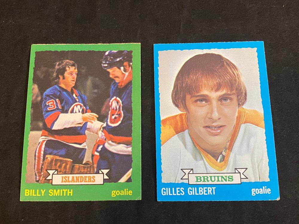 (2) EX 1973 Topps Hockey Rookies: Billy Smith & Giles Gilbert