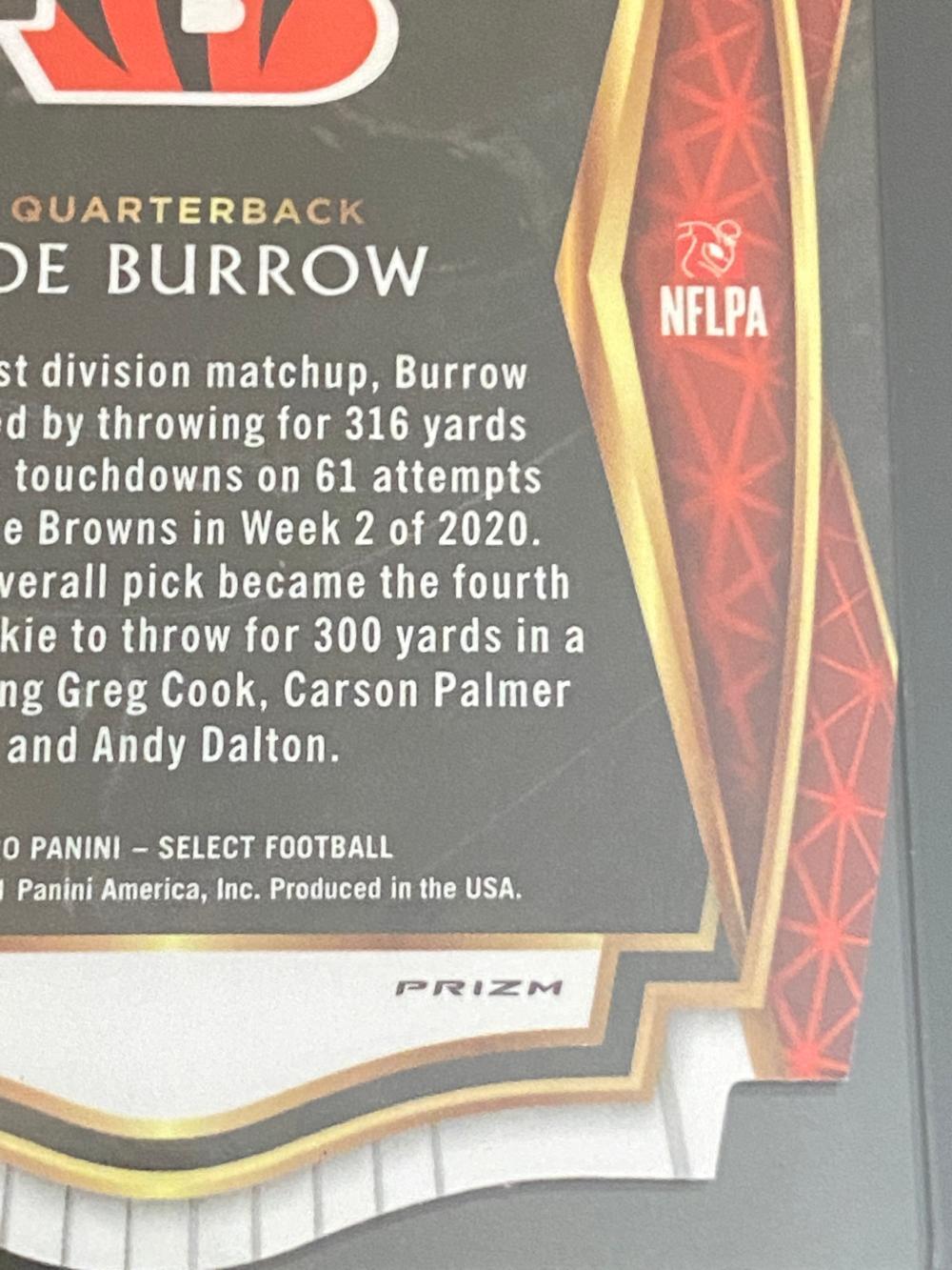 SGC 10 (Gem Mint) 2020 Select RC Maroon Prizm Die Cut Premier Level Joe Burrow #146 Football Cards