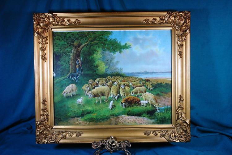 Framed print; shepard with flock; signed A Muller. 1890's or earilier; 2nd floor