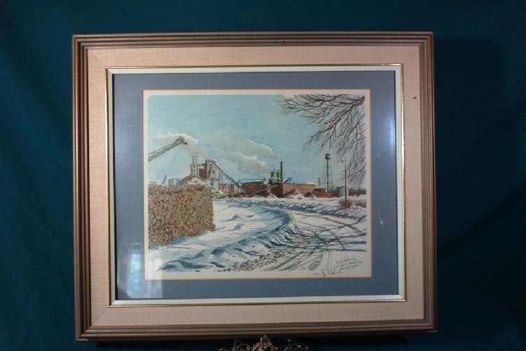 Industrial scene in snow;