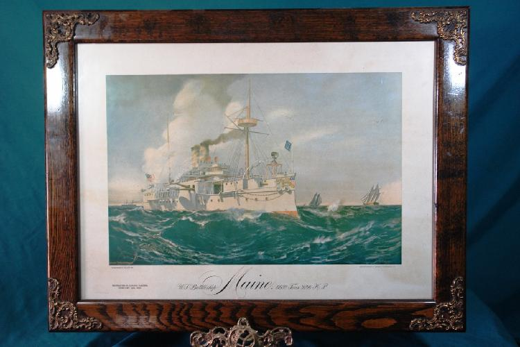 Print of the Maine; signed F N Atwood 1895, copyright 1898 by H A Wheeler (from a painting owned by Brigadier General H A Wheeler); oak frame with ormolu corners ; 2nd floor