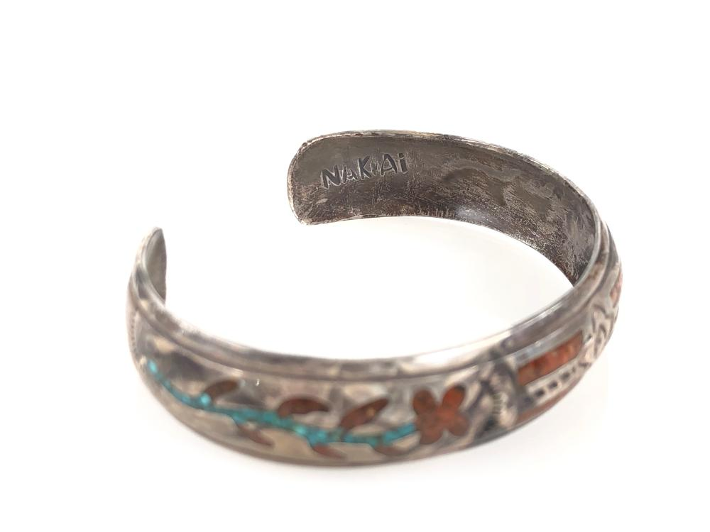 Lot - Nakai Sterling, Turquoise & Coral Inlay Bracelet