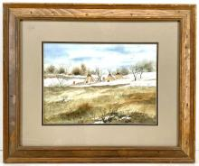 """Andy Dagosta """"Spring Thaw"""" Watercolor on Paper"""