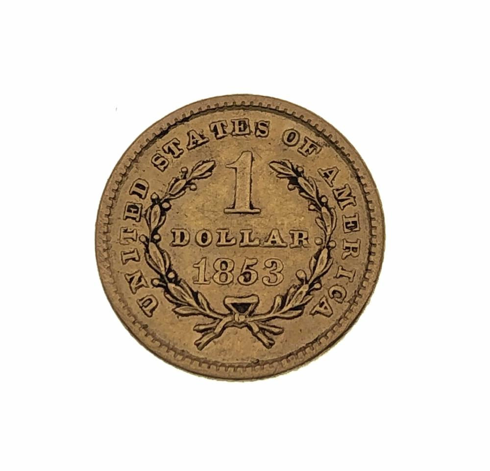 AUTHENTIC! 1853 $1 LIBERTY HEAD GOLD COIN