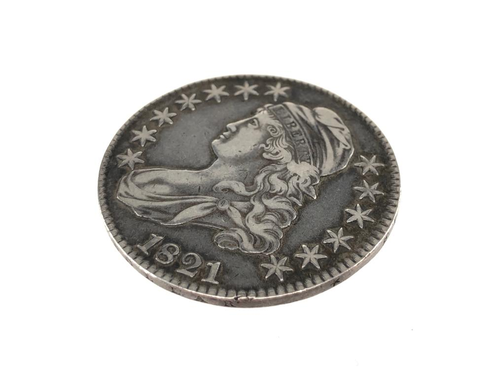 1821 CAPPED BUST LETTERED EDGE HALF DOLLAR COIN