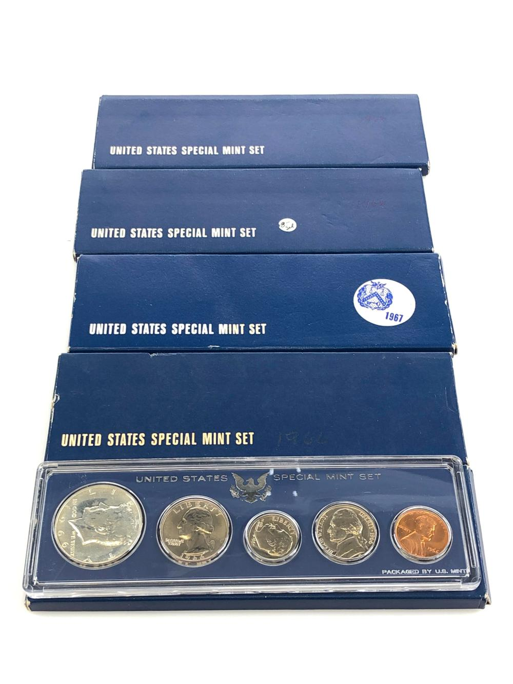 LOT OF 5 1966-1967 U.S. SPECIAL MINT SET W SILVER