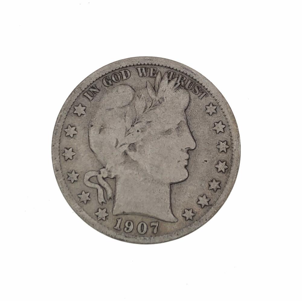 1907 S BARBER SILVER HALF DOLLAR