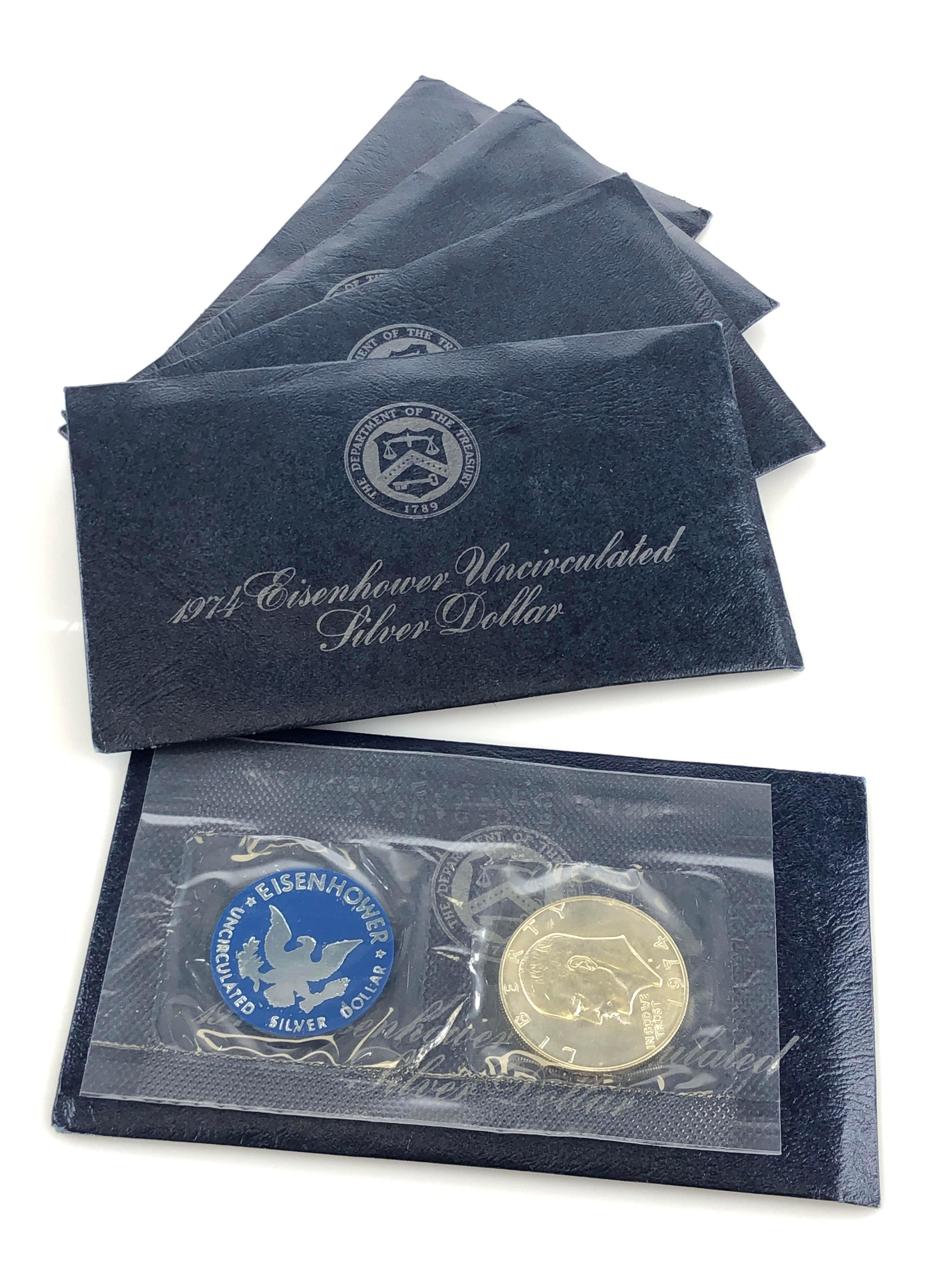 5PC 1974 EISENHOWER SILVER DOLLARS (UNCIRCULATED)