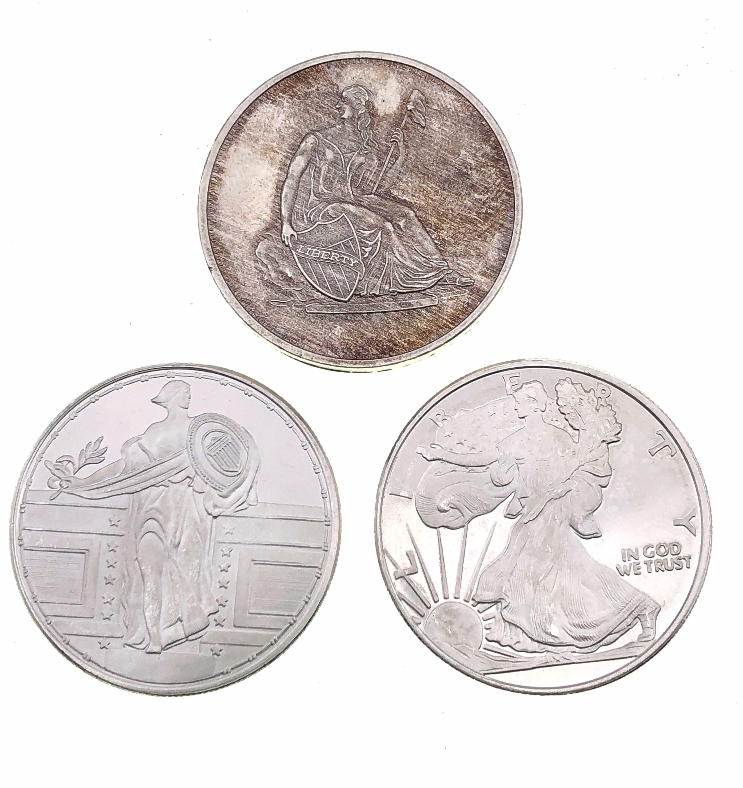 LOT OF 3 ASSORTED 1 TROY OZ .999 SILVER BULLION