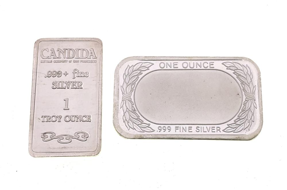 LOT OF 2 1TROY OZ .999 FINE SILVER BARS