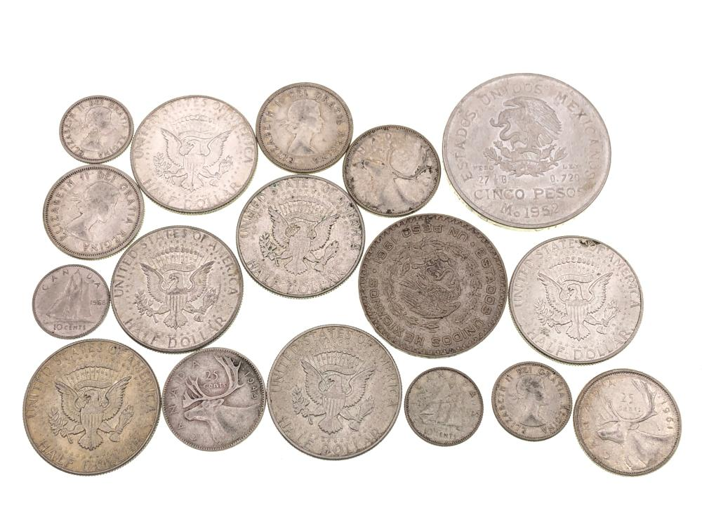 LOT OF 17 ASSORTED U.S. & FOREIGN SILVER COINS
