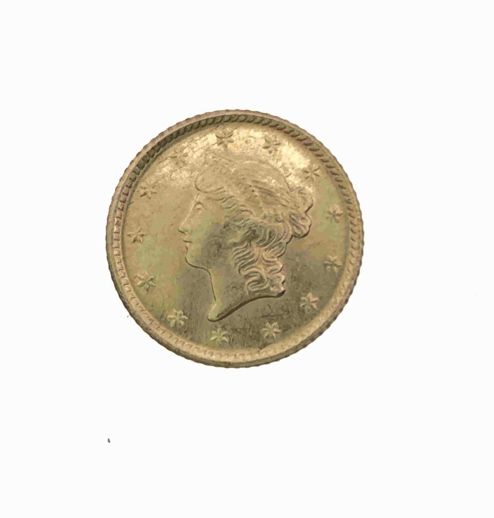 1853 LIBERTY HEAD GOLD $1 COIN