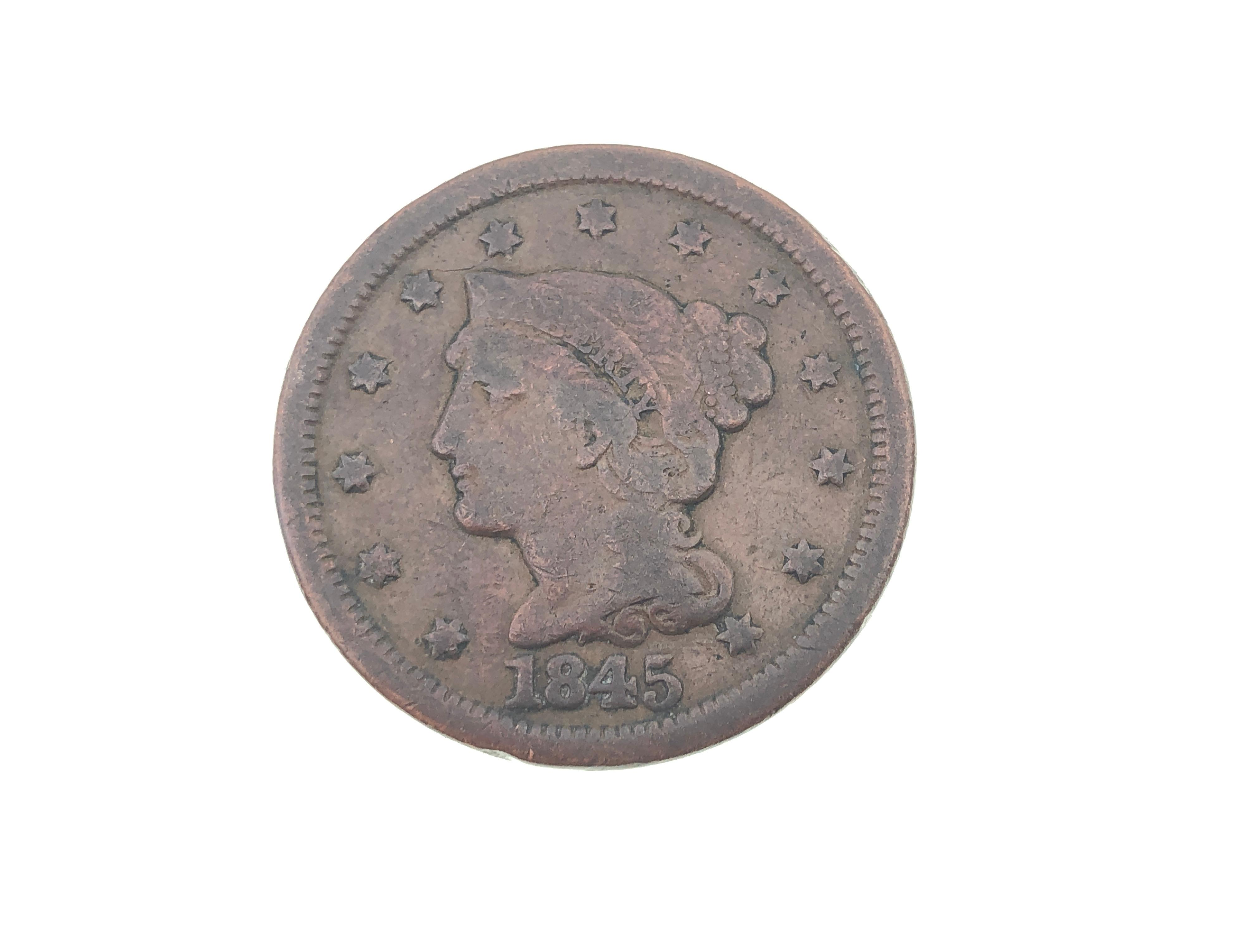 1845 BRAIDED HAIR LIBERTY HEAD LARGE CENTS