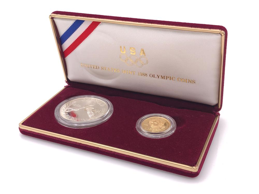 1988 OLYMPIC GOLD & SILVER DOLLAR PROOF COIN SET