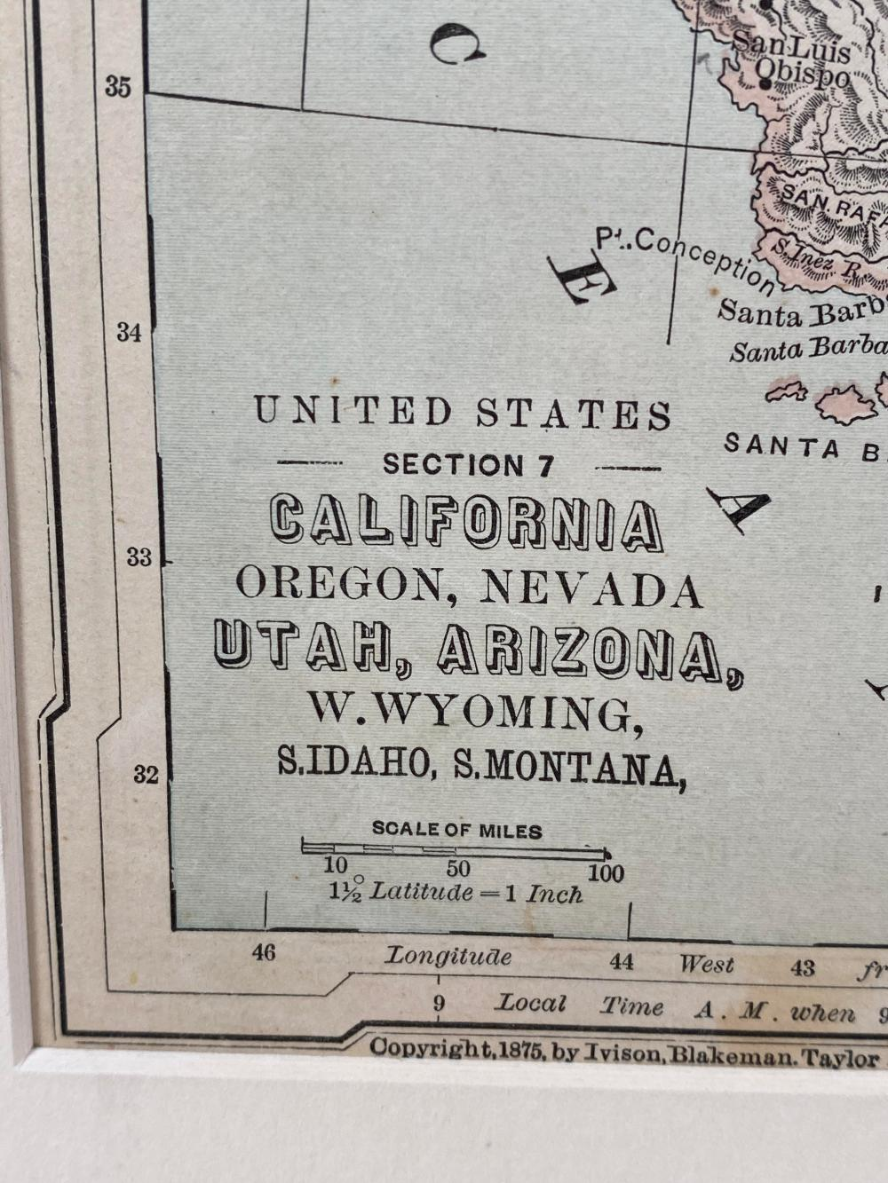 California & Western States 1875 Antique Map