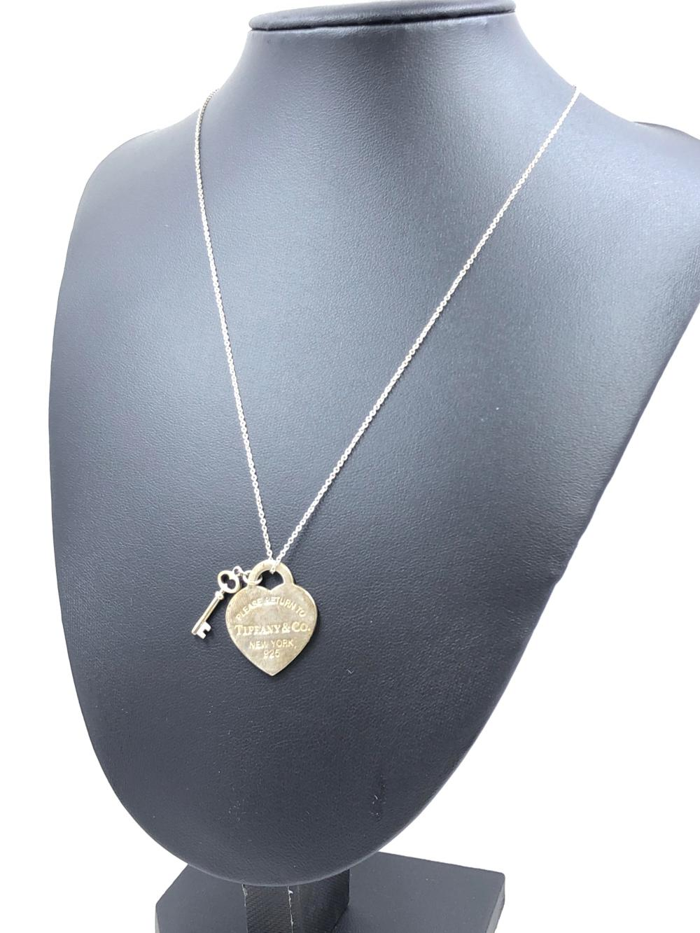 Tiffany Co Heart Tag With Key Pendant Necklace