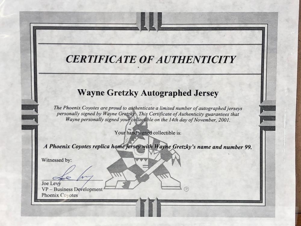 WAYNE GRETZKY PHOENIX COYOTES AUTOGRAPHED JERSEY