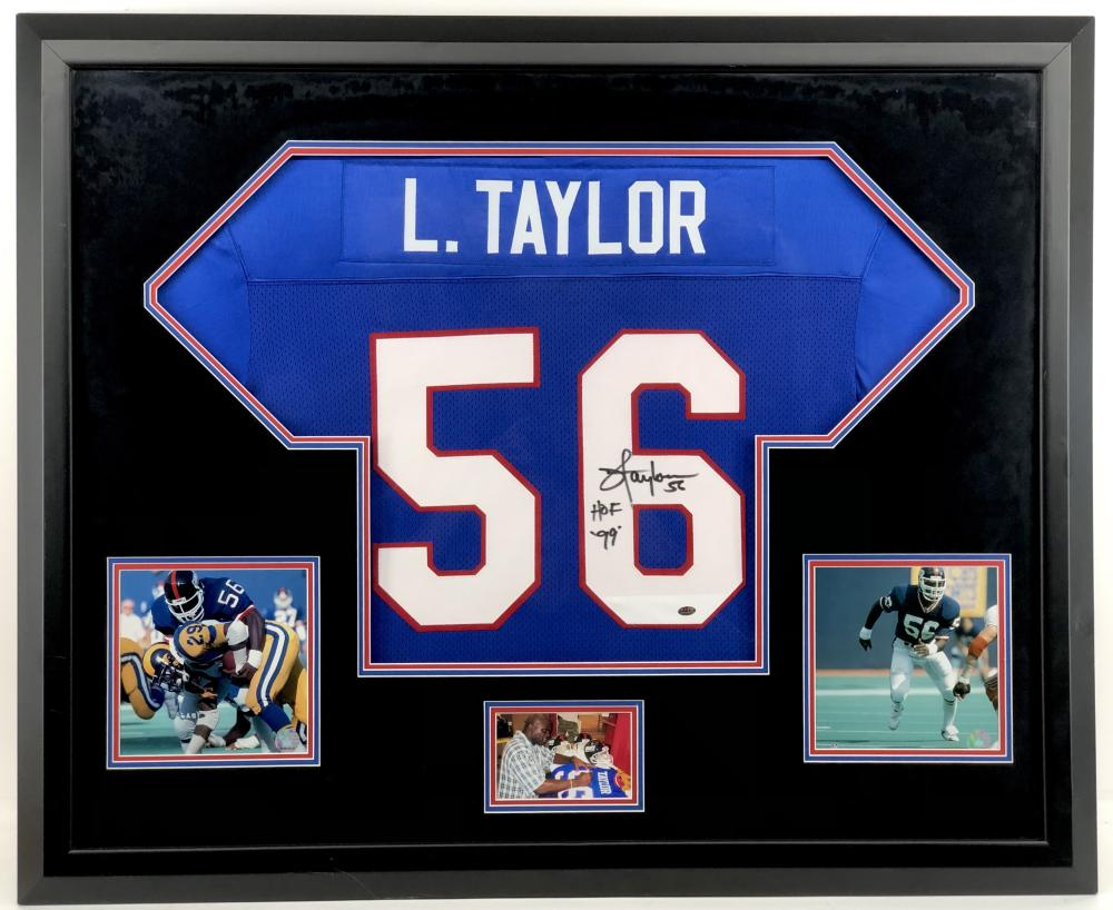 LAWRENCE TAYLOR HOF AUTOGRAPHED JERSEY FRAMED W/ PHOTOS