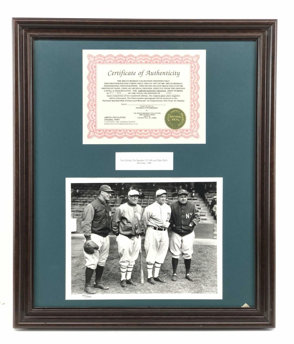 1928 SILVER GELATIN PHOTOGRAPH LOU GEHRIG, TRIS SPEAKER, TY COBB, AND BABE RUTH