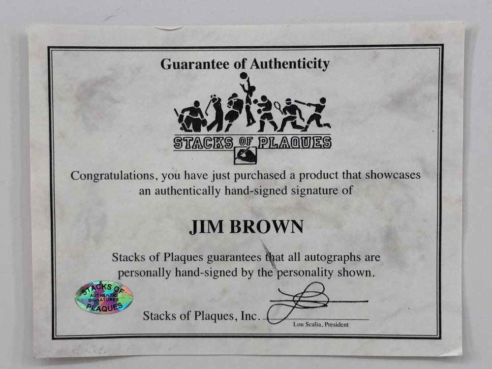 JIM BROWN HOF CLEVELAND BROWNS AUTOGRAPHED PHOTOGRAPH