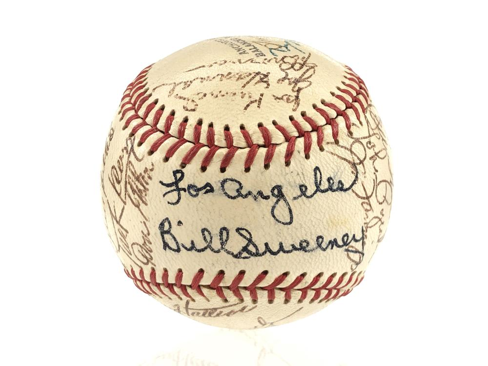 1955 PCL LOS ANGELES ANGELS TEAM AUTOGRAPHED BASEBALL