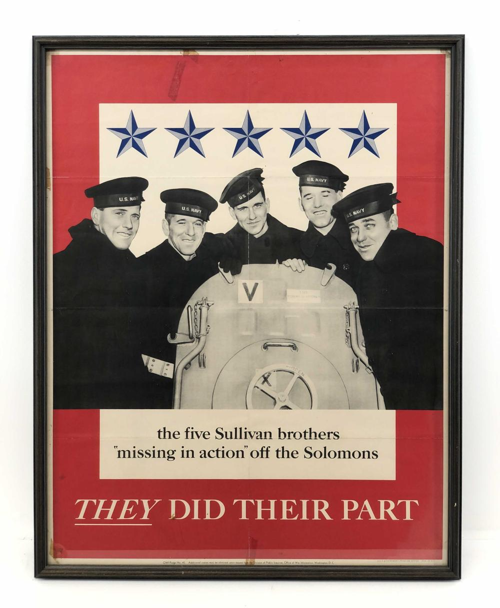 1943 THE FIVE SULLIVAN BROTHERS MISSING IN ACTION POSTER