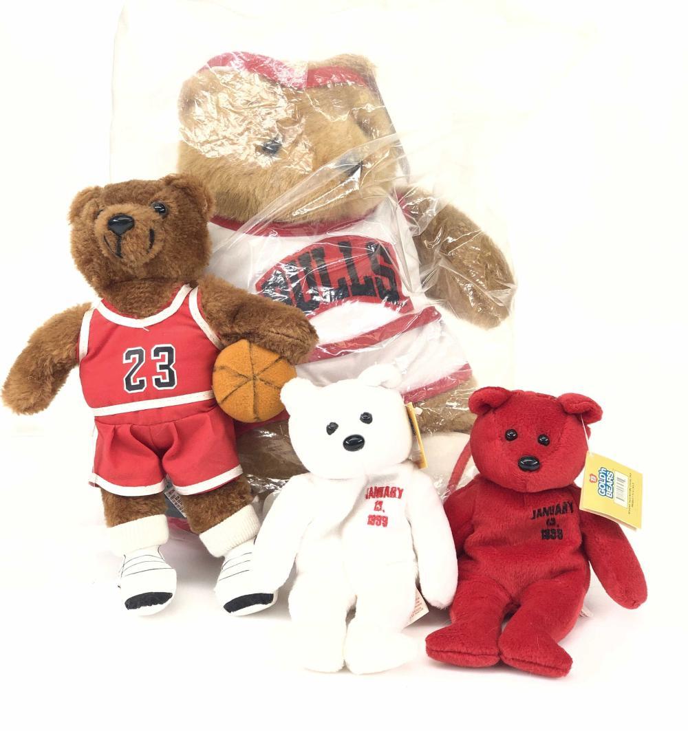 LOT OF 4 VINTAGE CHICAGO BULLS STUFFED TEDDY BEARS