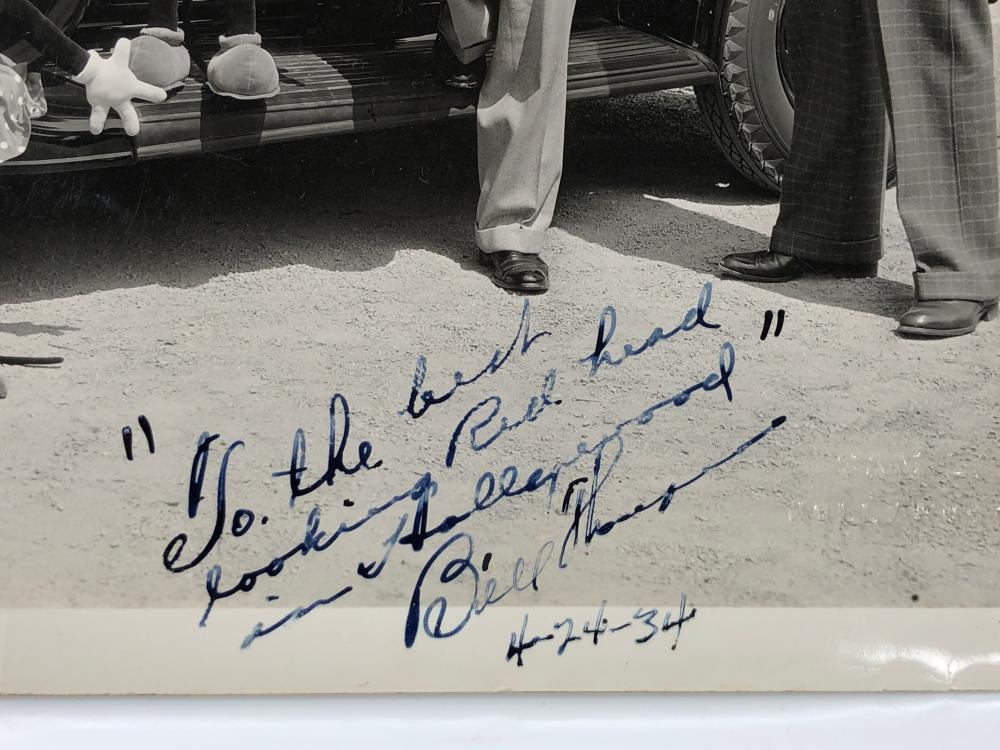 1934 BILL THOMPSON WALT DISNEY INSCRIBED PHOTOGRAPH