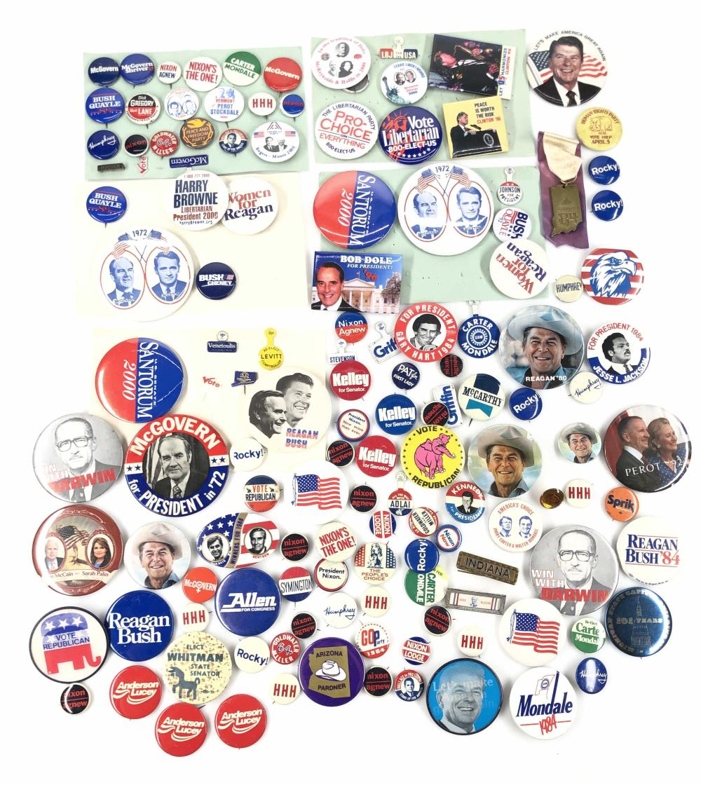 LOT OF 130+ VINTAGE MISC. POLITICAL PIN BACK BADGES