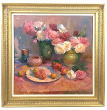 """OVANES BERBERIAN """"STILL LIFE WITH ROSES"""" OIL ON CANVAS"""