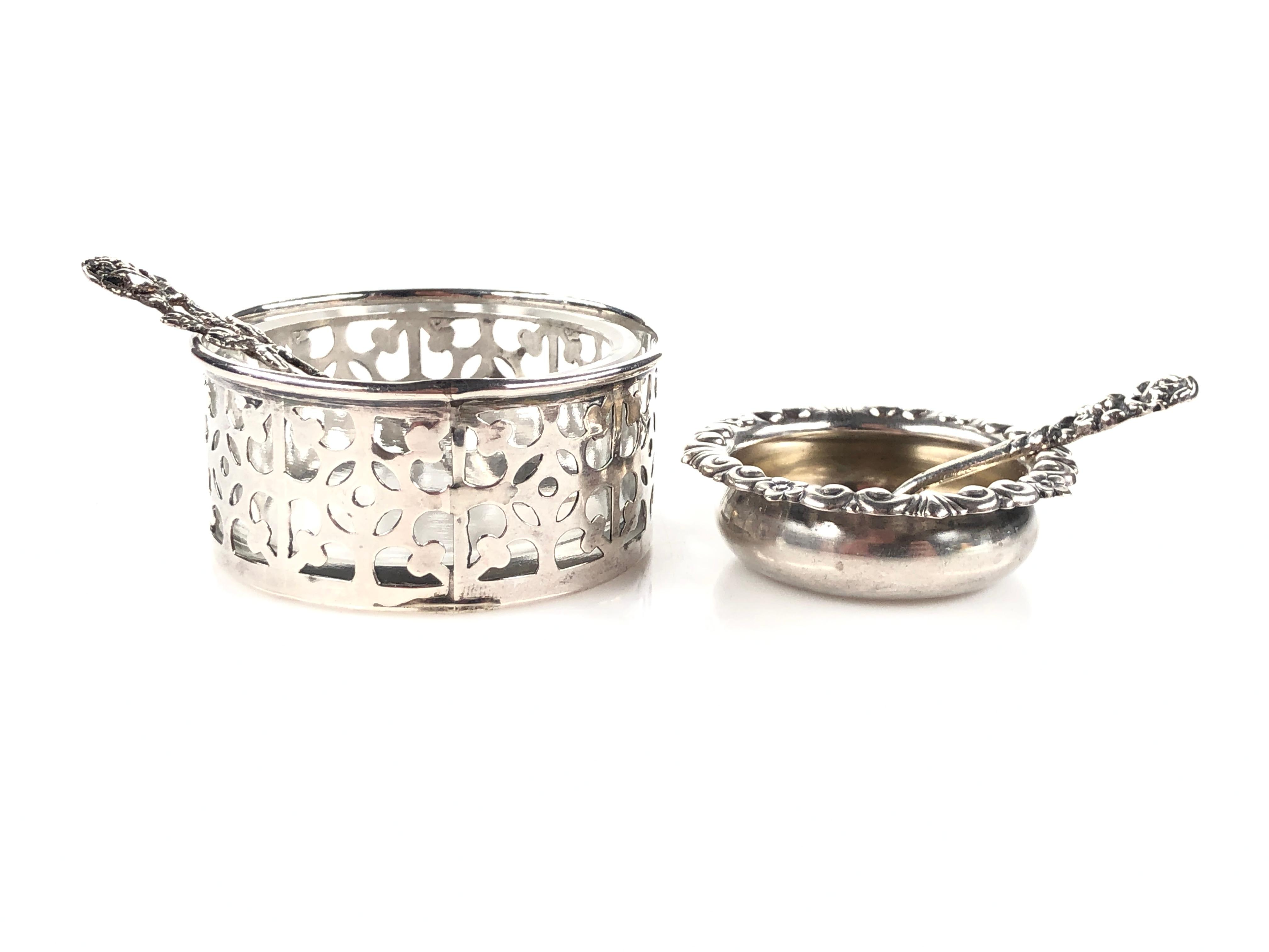 7 Sterling Silver Salt Cellers and Spoons