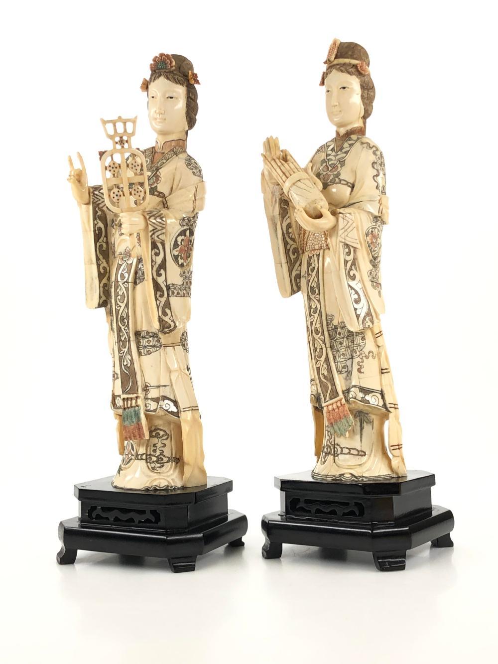 Lot Pair Of Vintage Hand Carved Bone Geisha Statues